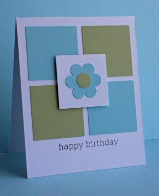 Birthday Card. Could adapt the centrepiece to almost any event, round one corner of each base square........
