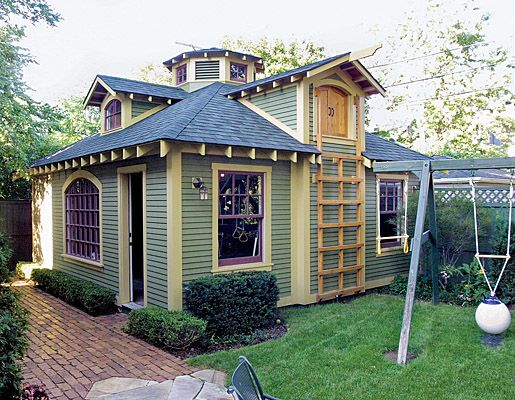 Sheds with style playhouse and storage in an old garage for Storage shed playhouse combo plans