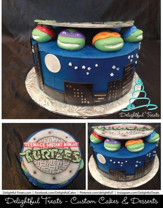 Teenage Mutant Ninja Turtles Sewer Lid Cake with Michelangelo Mikey
