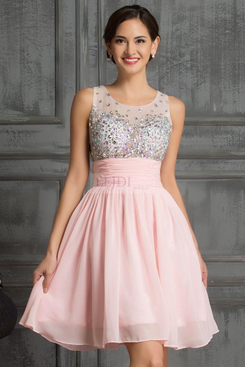 W Mega Sukienka z kryształkami na studniówkę, sylwestra, wesele, różowa IP58