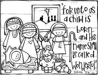 Christmas) Nativity coloring page | Bible School crafts & story ...