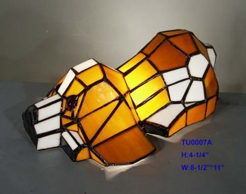 Gauges TIFFANY LEADLIGHT STAINED GLASS PUPPY DOG ANIMAL TABLE LAMP