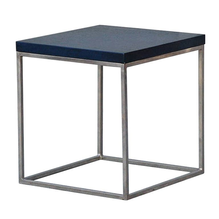 Best Blue Crackled Lacquer And Stainless Steel Cube Side Table 400 x 300