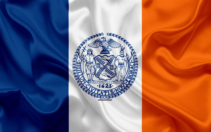 Download Wallpapers Flag Of New York City 4k Silk Texture American City Blue White Orange Silk Flag New York City Flag Nyc Usa Art United States Of Ame City Flags American