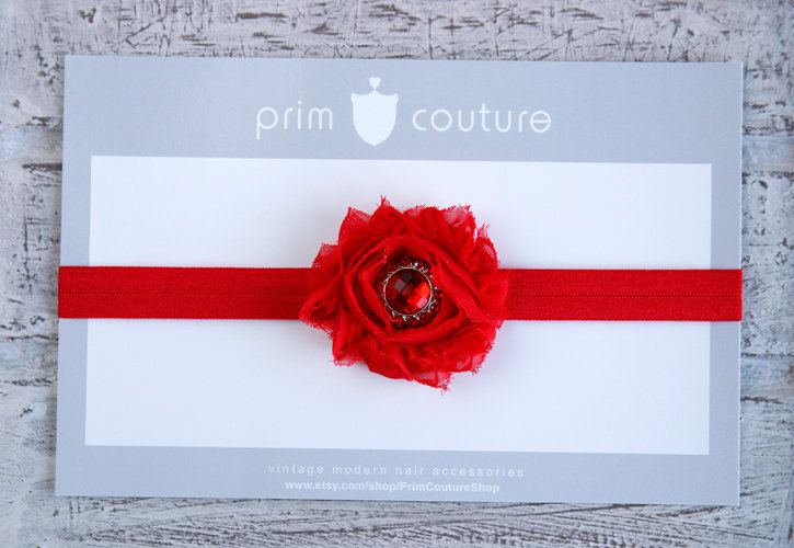 Gorgeous Christmas Red Shabby Chic Flower Headband with Sparkly Jeweled Center