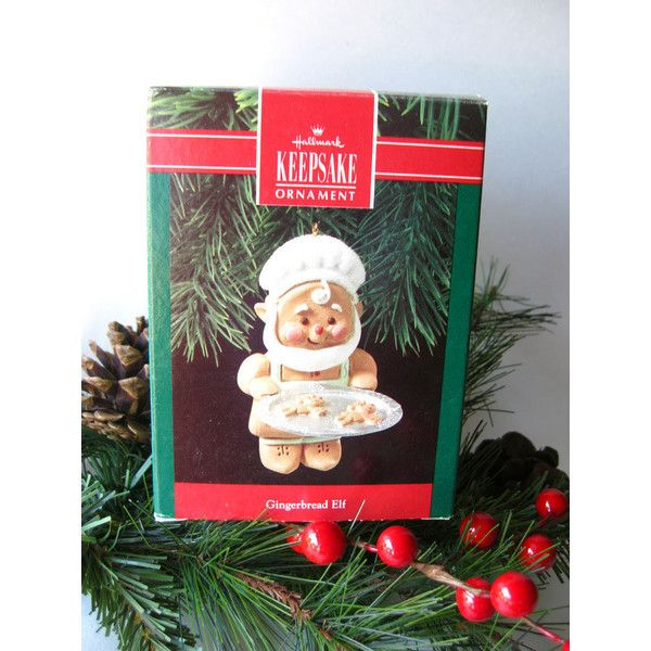gingerbread elf hallmark keepsake ornament christmas tree vintage 12 liked on polyvore featuring home home decor holiday decorations