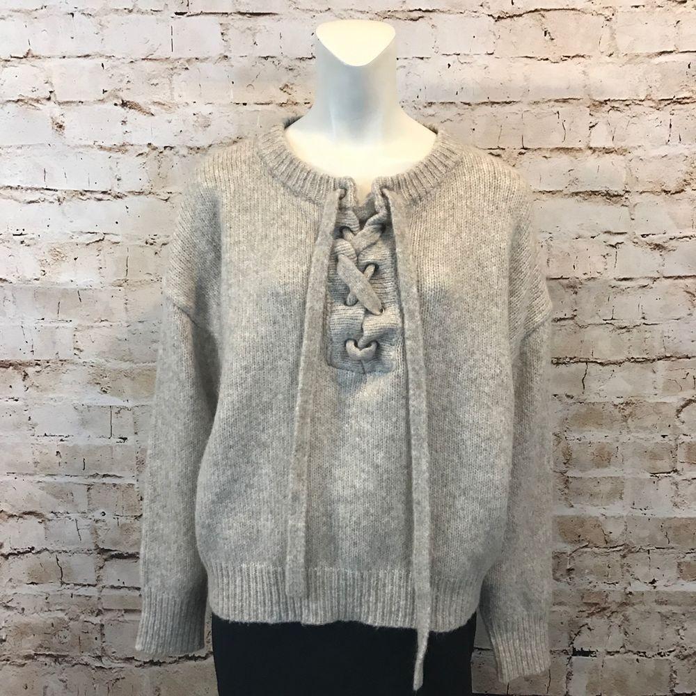 73cc702f5 Zara Knit Womens Medium Sweater Chunky Knit Lace Up Beige Wool Mohair