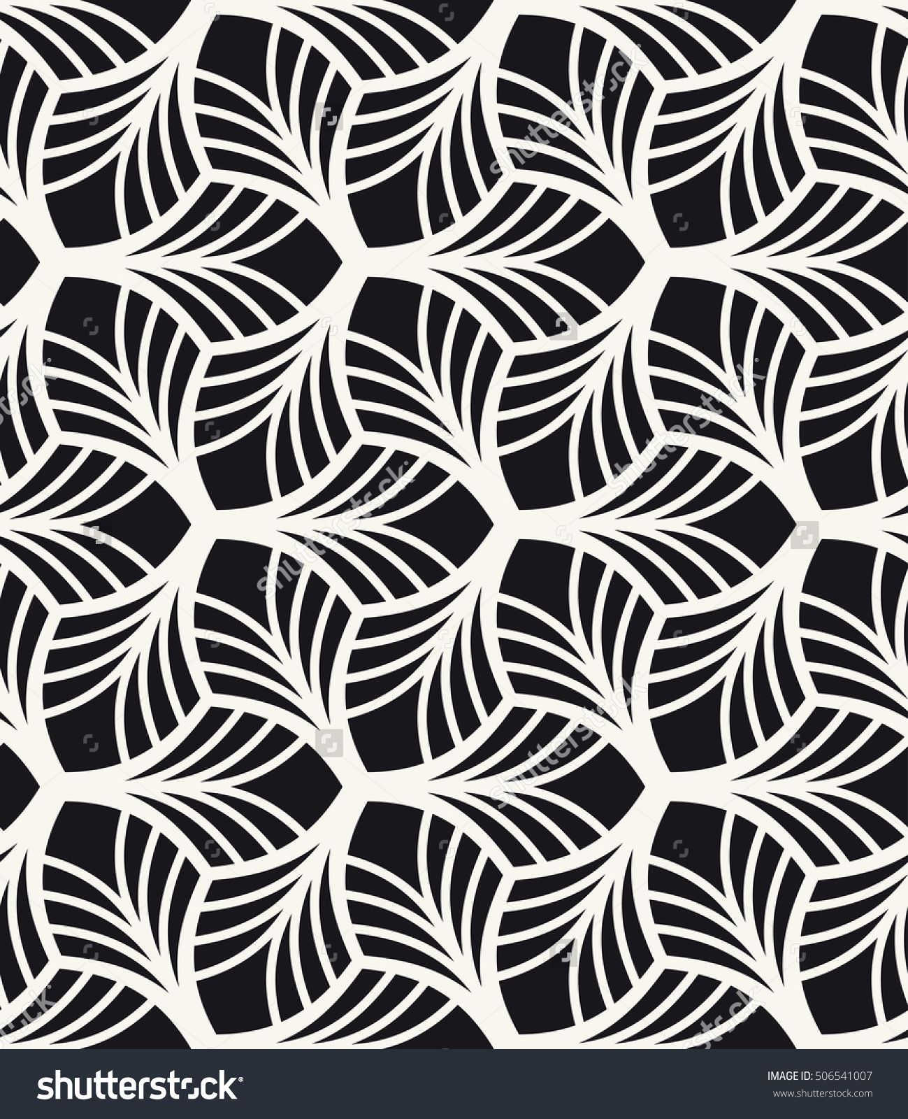 Monochrome Graphic Design Decorative Geometric Leaves Regular Floral Background With