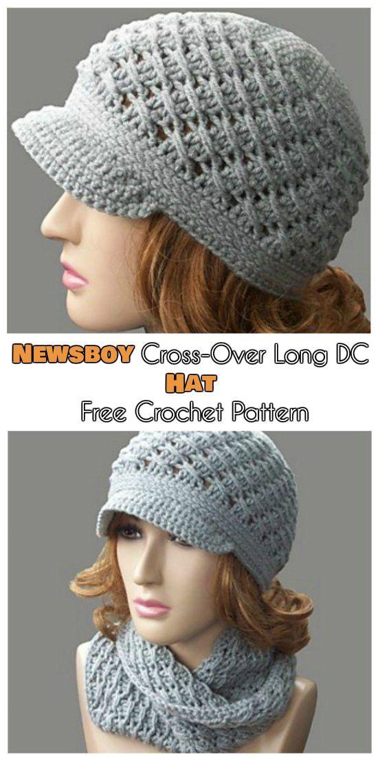 Newsboy\' Cross-Over Long DC Hat [Free Crochet Pattern] | Free ...