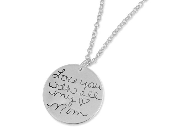 Personalised Engraved round necklace gift for mum choose message 1 or both sides