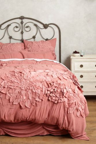 ANTHROPOLOGIE Georgina QUEEN Duvet Cover +4 Shams Rose Bedding FREE  SHIPPING NEW