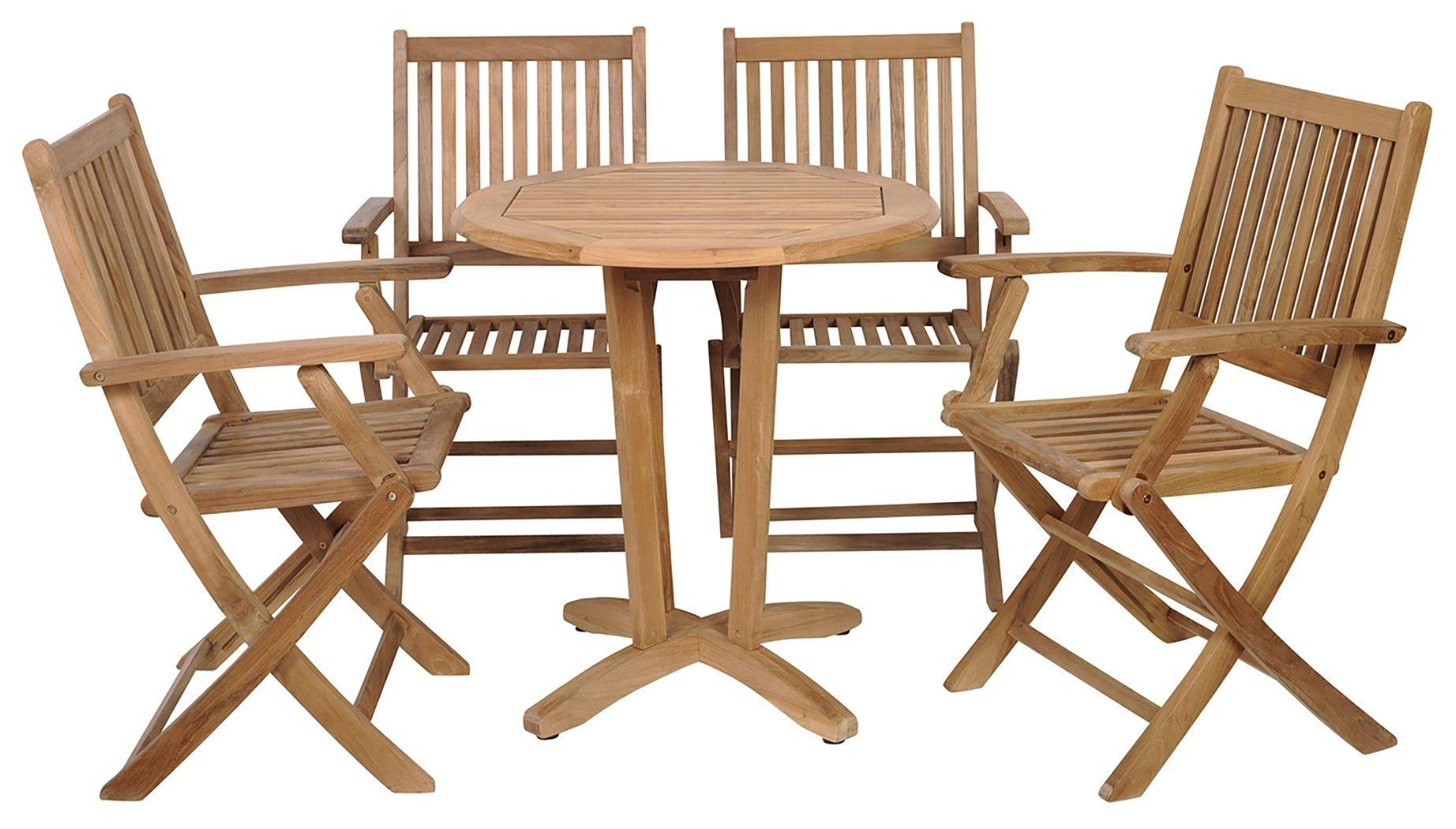 amazonia 5 piece teak round patio bistro set brown products in rh pinterest com