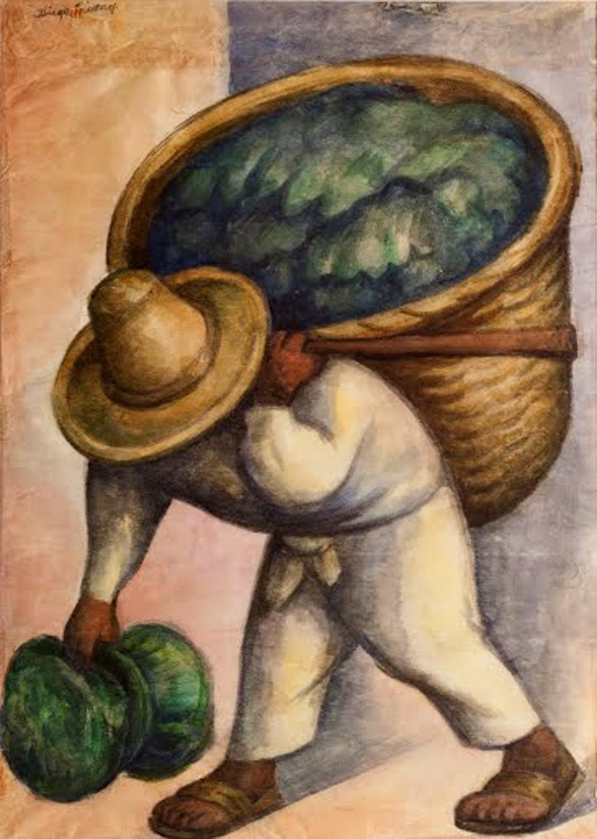 Cabbage Seller : cabbage, seller, Cabbage, Seller, Diego, Rivera,, Watercolor,, #CabbageSeller, #DiegoRivera, Rivera, Mexican, Artists