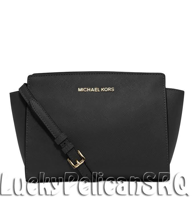 7ddb34f0b070 MICHAEL KORS Selma Medium Saffiano Leather Messenger Crossbody Bag Black NWT  #MichaelKors #MessengerCrossBody