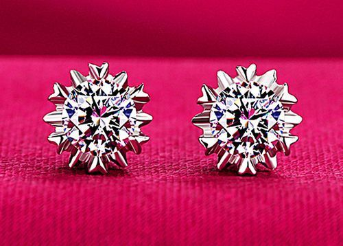 ebe25eb3a 925 Sterling Silver Studs Earrings Heart Shape Stud Clear Crystals Stars S  Wed #Stud