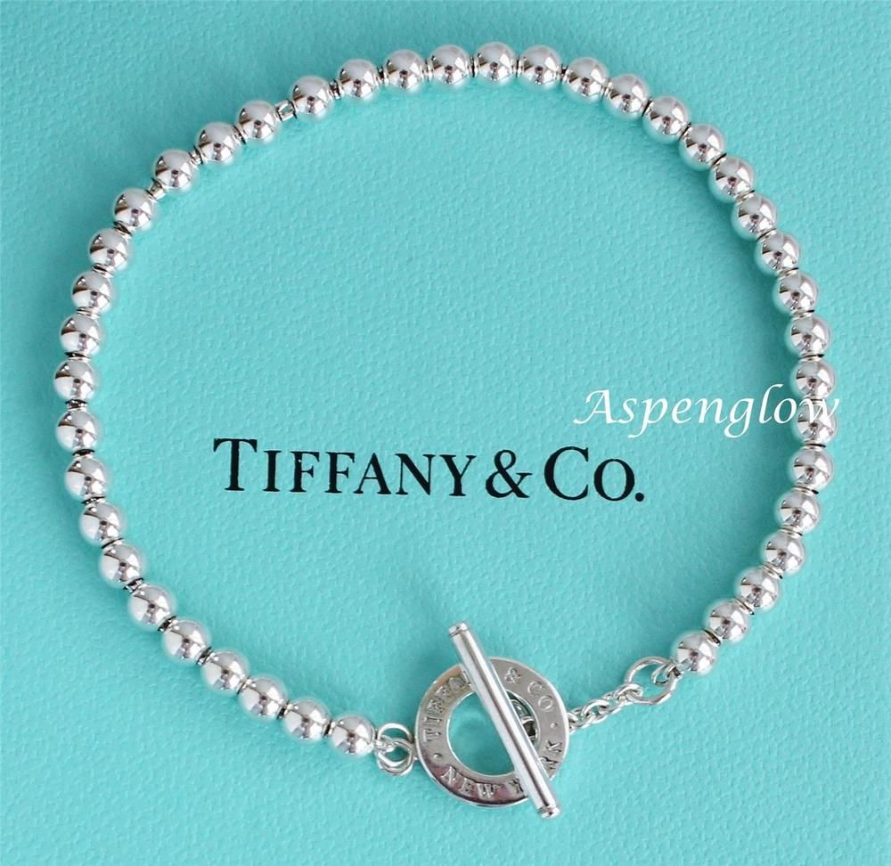 1d8145c6f1e30 TIFFANY & CO. NEW YORK BEADS 4mm STERLING SILVER TOGGLE CLASP ...