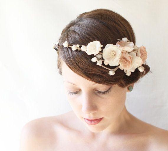 Wedding flower crown Bridal hair wreath Woodland by whichgoose, $115.00