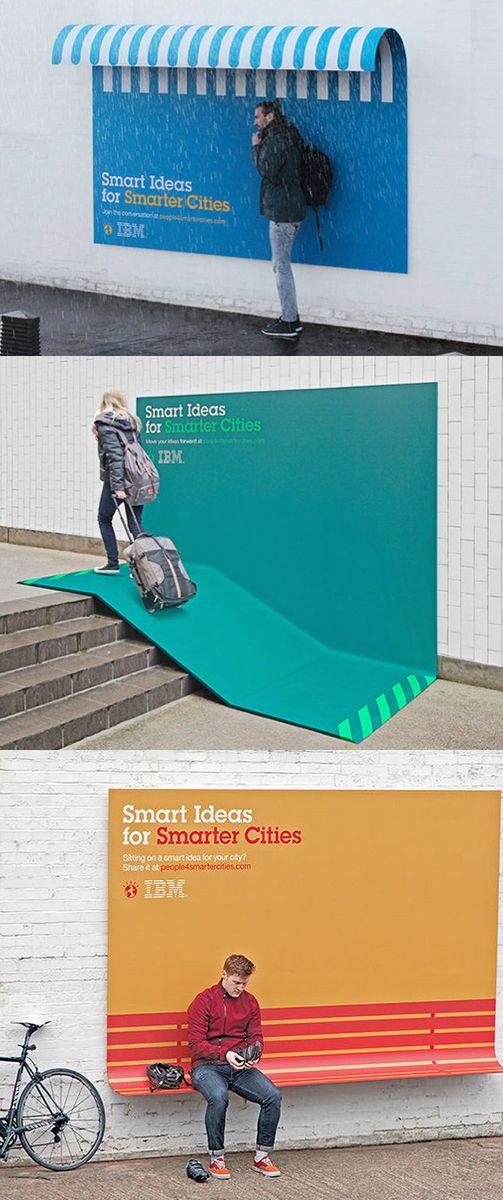 거리의 작은 아이디어가 시민에게는 큰 도움이 될 것 같고 특히 비올때 잠깐 비를 피할 수 있게 만든 첫번째 사진의 구조물은 광고문구를 넣으면 비를 피해 서 있는 시민에게 좋은 광고 효과가 생길 것 같습니다.