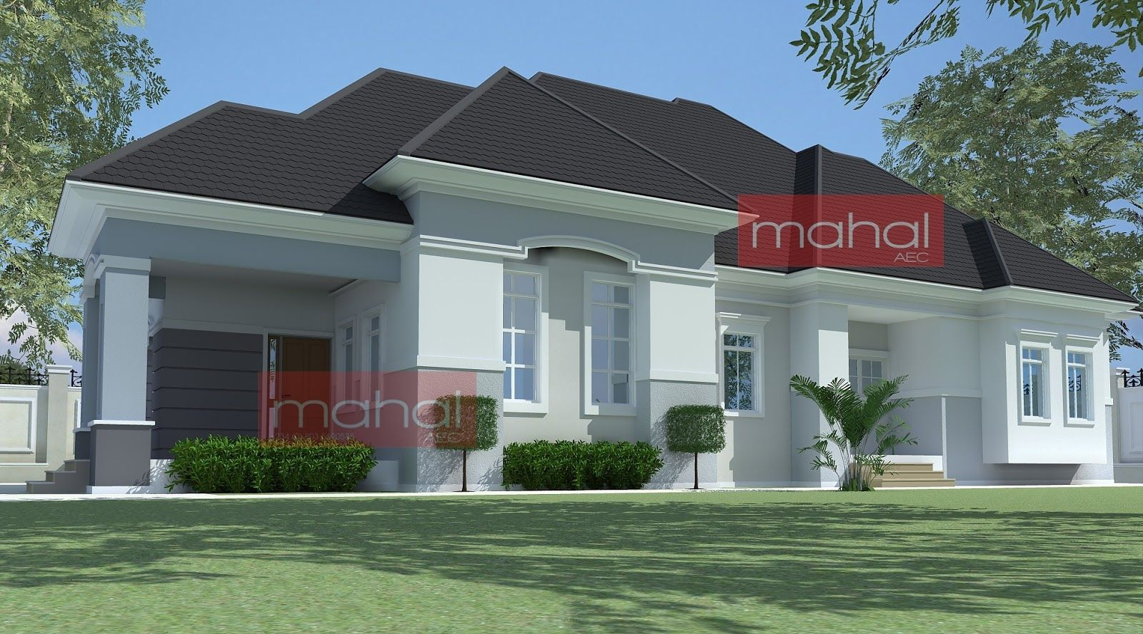 Contemporary Nigerian Residential Architecture Peter House 4 Bedroom Bungalow In 2020 House Roof Design Modern Roof Design Bungalow House Design