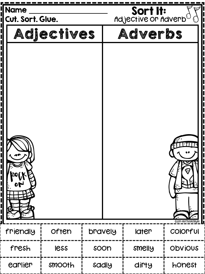 Adjective and Adverb Sorting FREEBIE from More Than Math by Mo ...