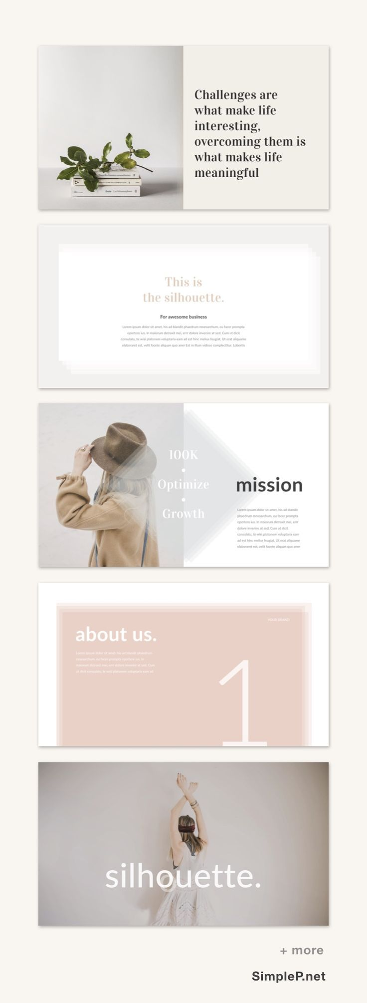 silhouette powerpoint presentation template simple minimal