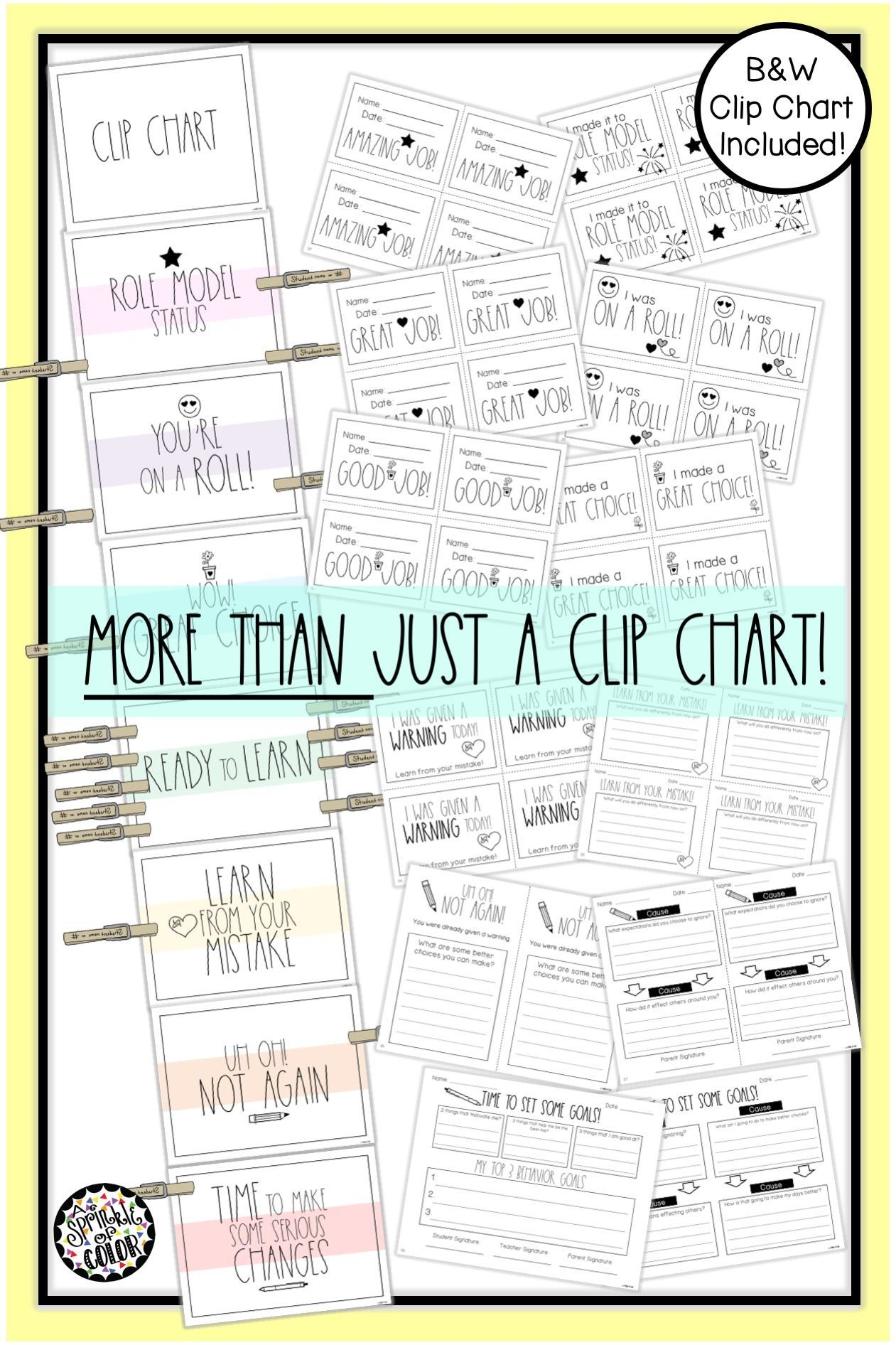 Clip Chart With Behavior Management Sheets
