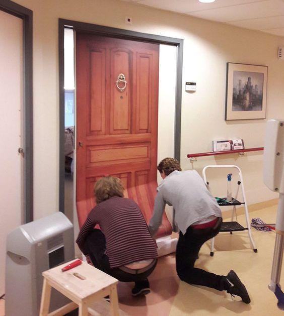 company recreates doors of dementia patients houses to help them rh pinterest com