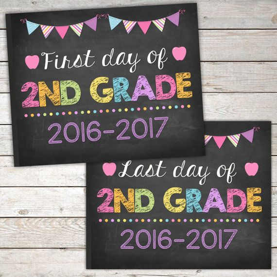 graphic regarding Last Day of 2nd Grade Printable identify To start with Working day and Final Working day of 2nd Quality Indicator 8x10, Pirntable