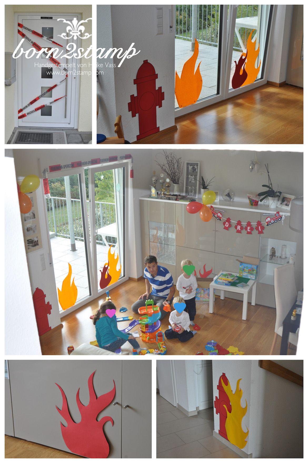 feuerwehrparty deko born2stamp kindergeburtstag birthday party und fireman birthday. Black Bedroom Furniture Sets. Home Design Ideas