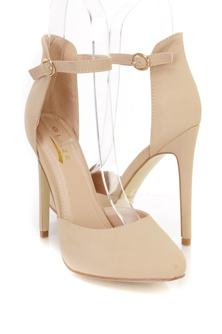 Nude Pointy Closed Toe Ankle Strap Single Sole High Heels Nubuck ...