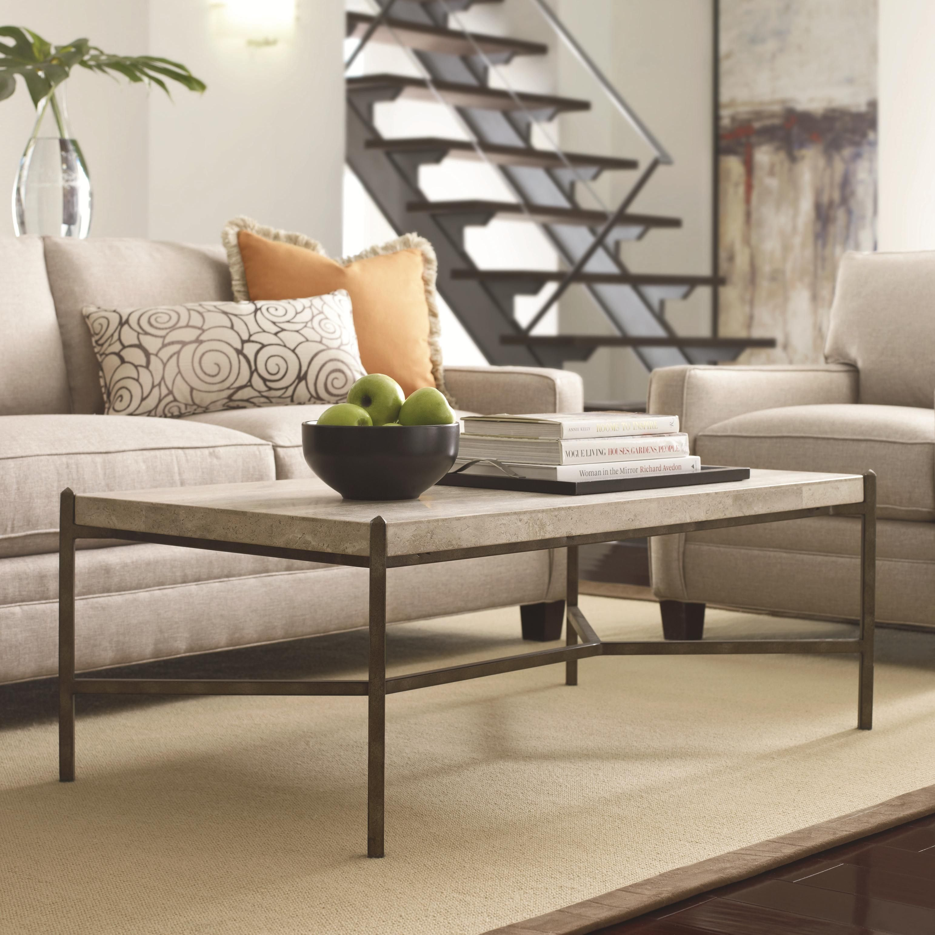 Cachet Rectangular Coffee Table W/ Travertine Stone Top By