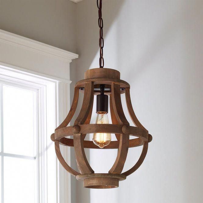 Rustic Wood Basket Pendant In 2020 Wood Pendant Light Rustic Pendant Lighting Wood Basket