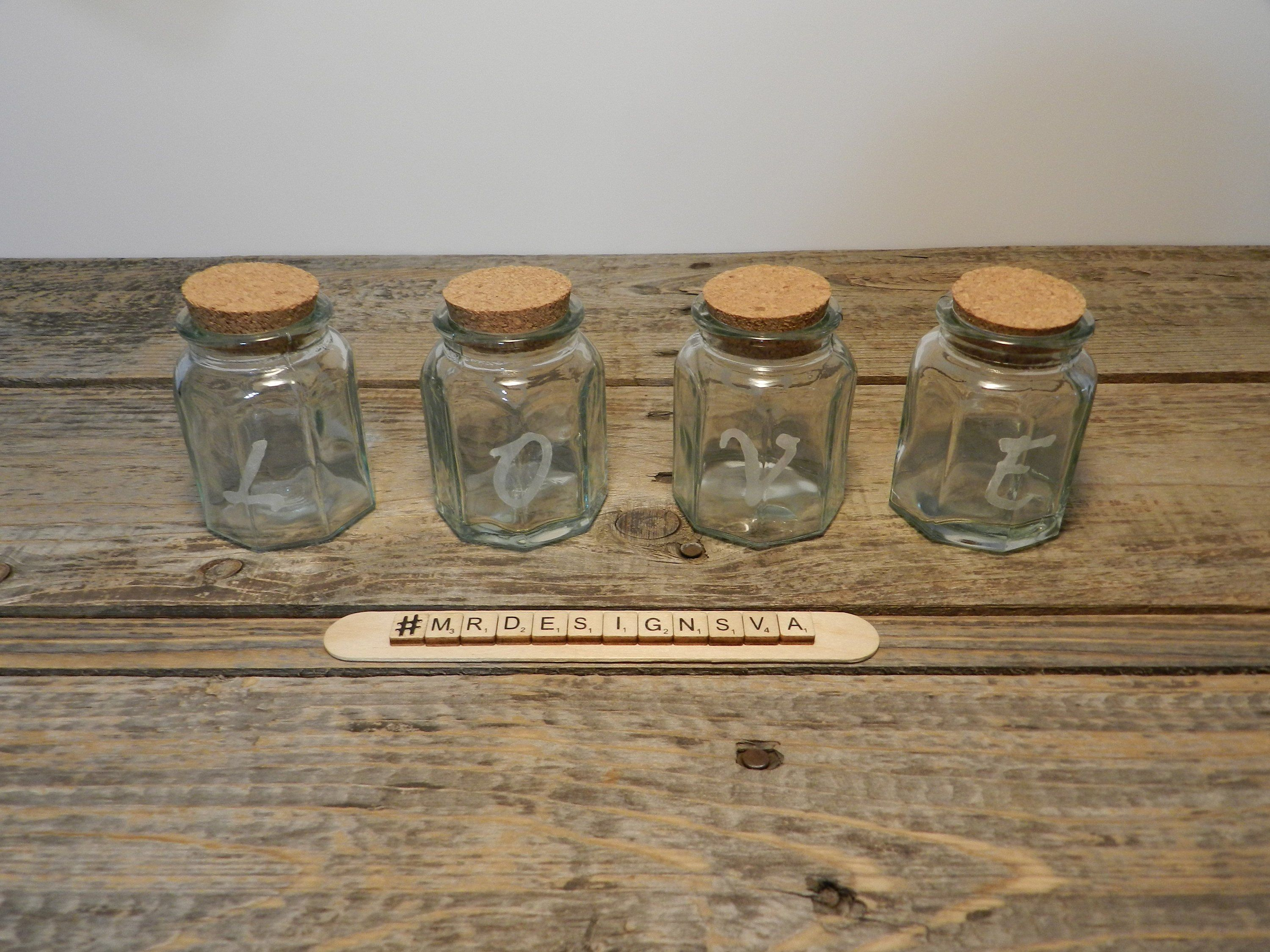 Love And Hope Etched Glass Jars With Cork Lids Girlfriend Gifts Glass Jars Christmas Gifts For Girlfriend