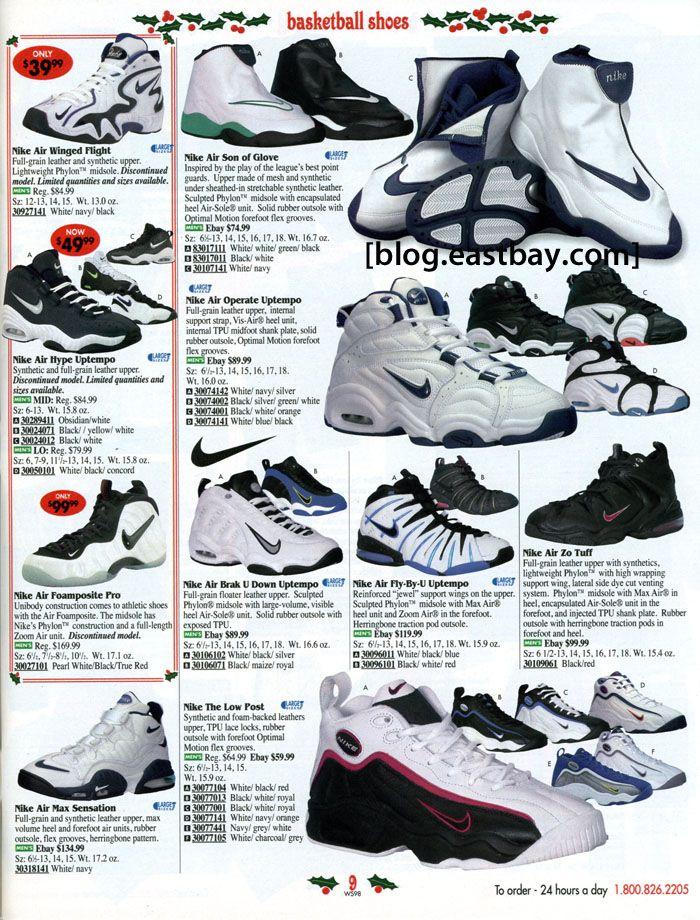 black and white nike shoes 1996 eastbay catalog cover 875938