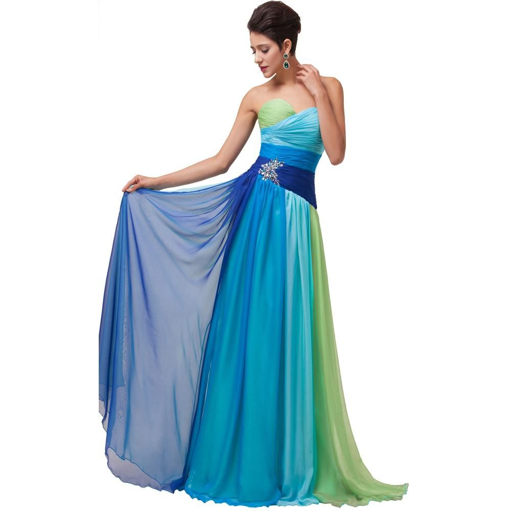2015 New Women Pleated Chic Maxi Prom Dress Crystal Rainbow Colorful ...