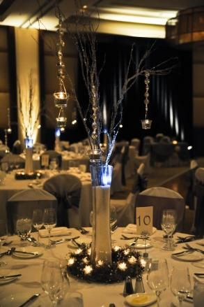 Elegant Centerpieces With Crystals And Votive Cups Table Centerpiece Size Only 45 00 Elegant Centerpieces Wedding Table Decorations Table Centerpieces
