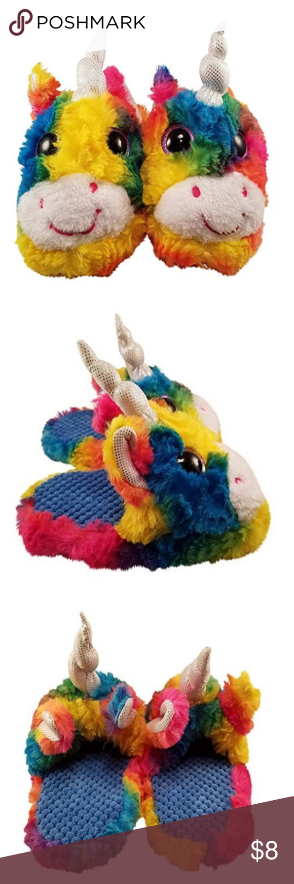 Unicorn Slippers for Girls with Rainbow Colors and Big Eyes