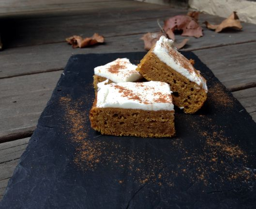 Pumpkin Curry Blondies with Coconut Rum Icing