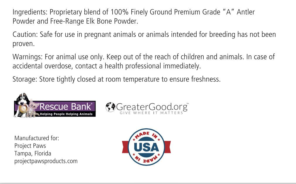 Bone broth powder for dogs with elk antler glucosamine