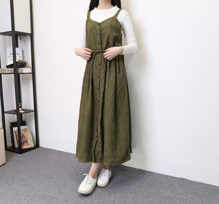 Autumn Spring Vintage Women Strap Long Dress Korean Preppy Style