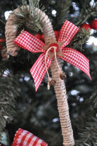 Dollar Tree Plastic Candy Cane Wrapped In Twine And Decorated With