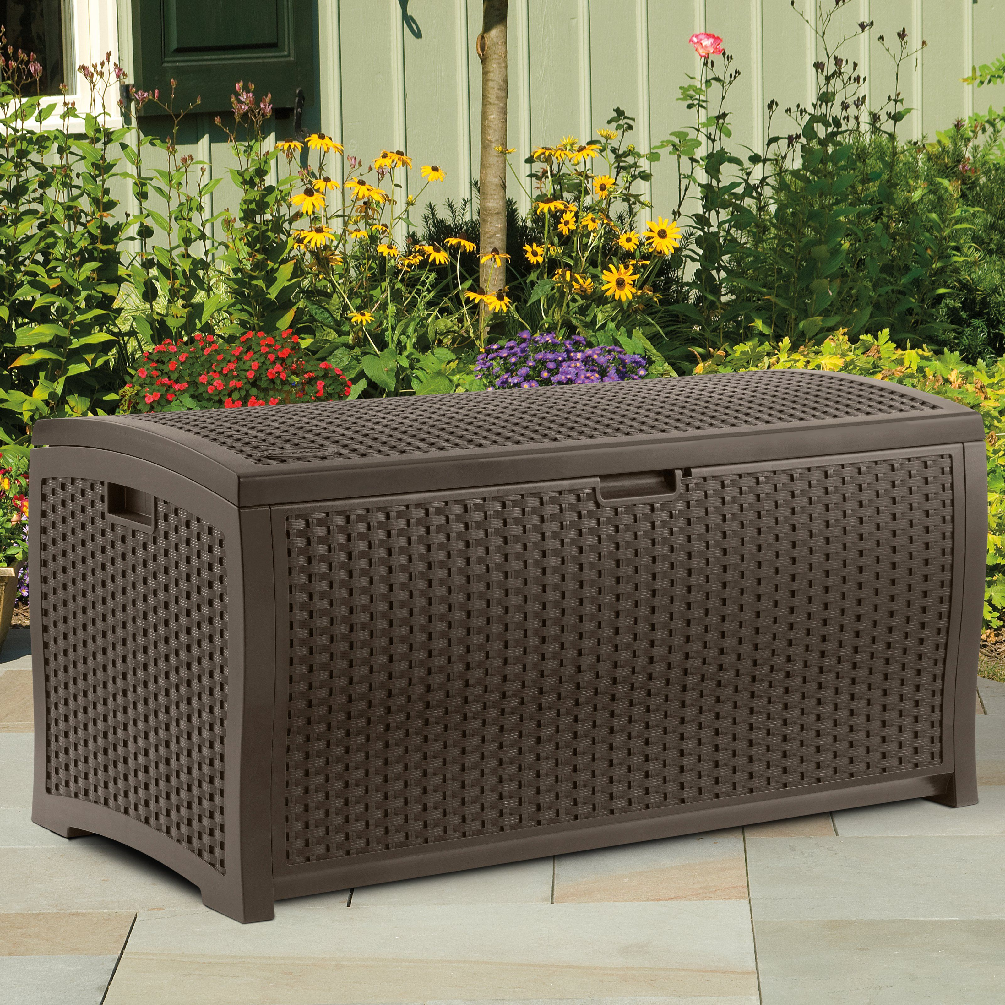 Suncast Resin Deck Box Mocha Brown The In Will Safely Your Outdoor Gear While Offering A Bonus Patio Seat