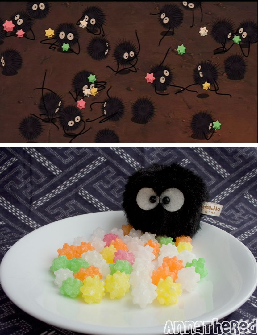 never knew the little sprinkle looking thing the sootballs in Spirited Away eat are areal japanese candy---Konpeito! I have GOT to try those.