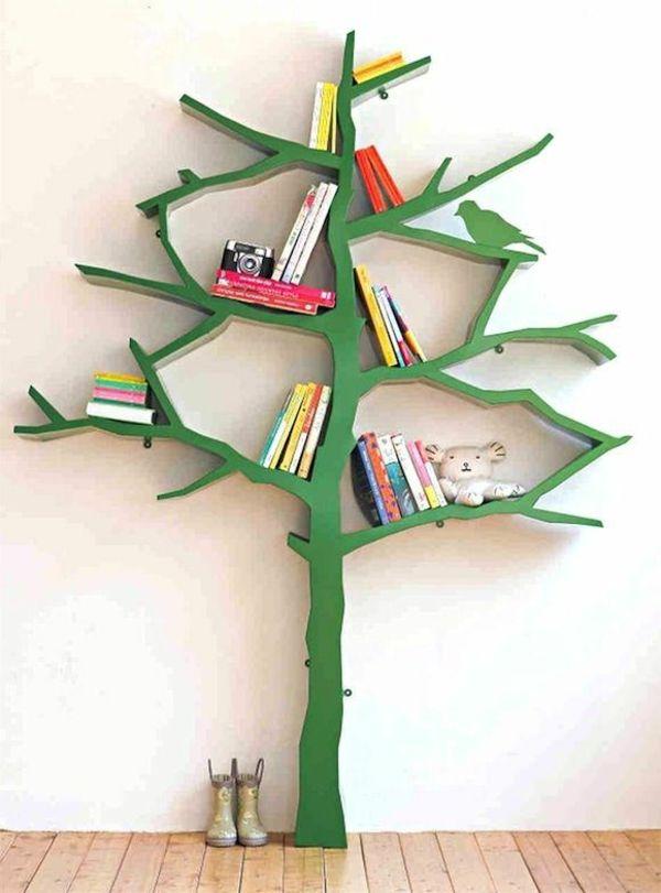 125 Großartige Ideen Zur Kinderzimmergestaltung   Kinderzimmergestaltung  Grüner Baum Als Bücherregal