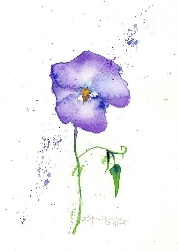 Violet original flower watercolor painting mat by ...