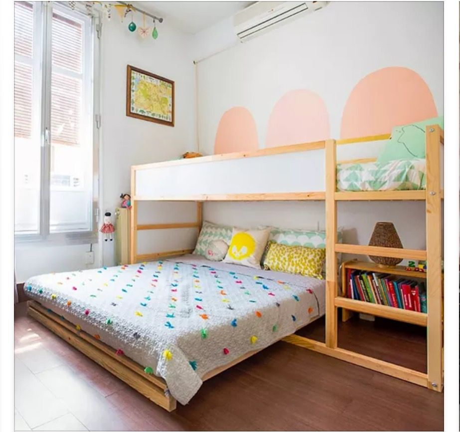 Ikea kura bed with full bed under girls shared room for Futon kids room