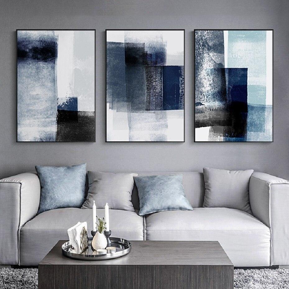 Modern Abstract Shades Of Blue Wall Art Scandinavian Style