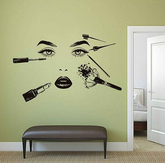 Girl Face Wall Decal Model Girl Wall Decal Beauty Salon Tools Make ...