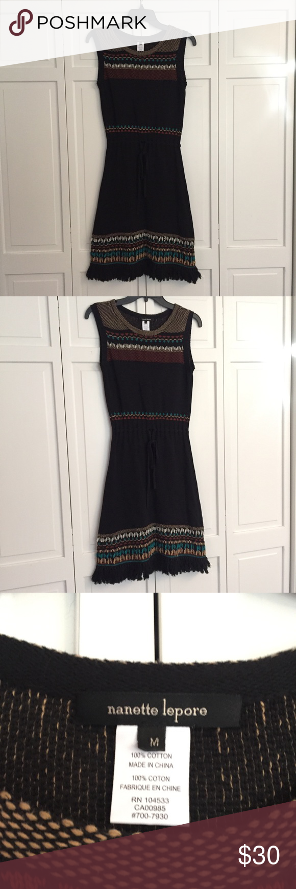 Nanette Lepore Knit Embroidered Dress Size M Knit Black Fabric With Tie Waist And Embroidered Detail On N Embroidered Dress Nanette Lepore Dress Nanette Lepore