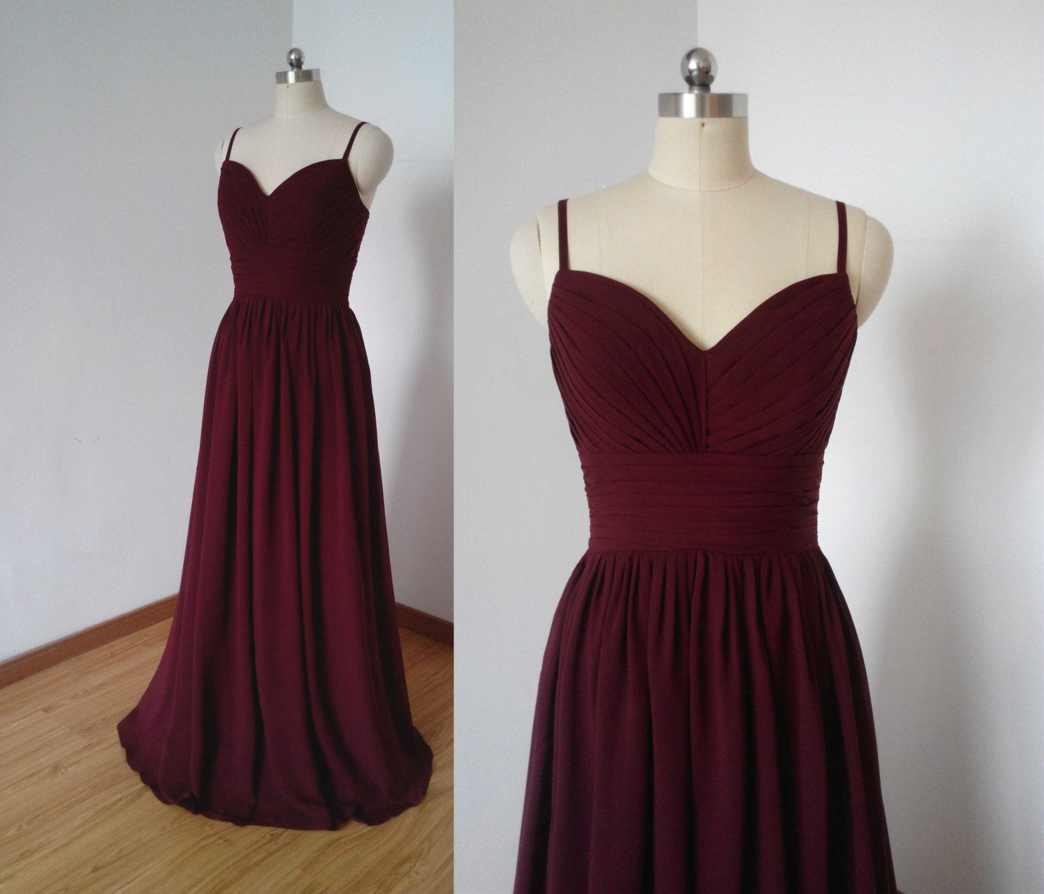 Spaghettiträger Burgund Chiffon Long Bridesmaid Dress (mit Bildern